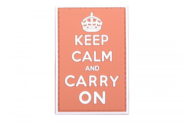 3D patch - Keep Calm And Carry On - red