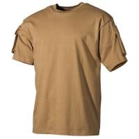 US T-Shirt, halbarm, coyote, mit Ärmeltaschen S