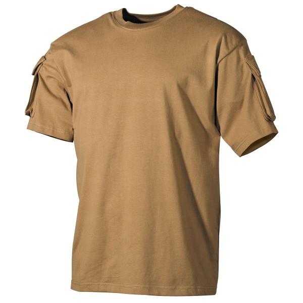 US T-Shirt, halbarm, coyote, mit Ärmeltaschen M