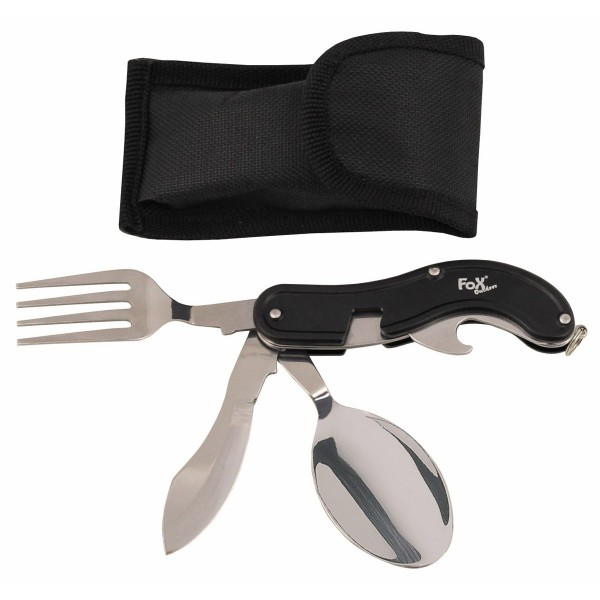 Taschenmesserbesteck, 4 in 1, schwarz, teilbar